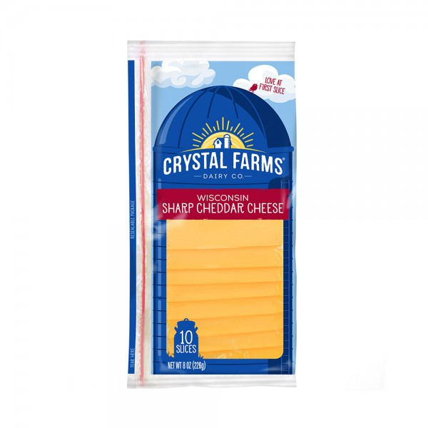 SHARP CHEDDAR SLICED CHEESE 492830-V001 by Crystal Farms