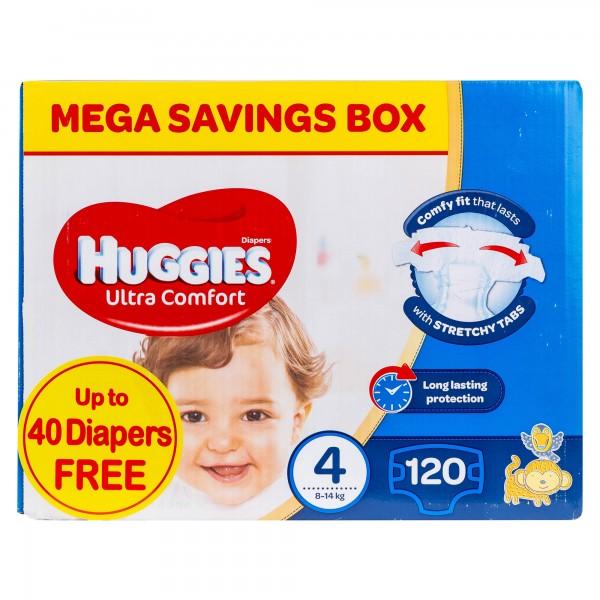 Huggies Diapers 4 Ultra Comfort Mega Saving Box  8-14Kg 120 Count 493767-V001 by Huggies