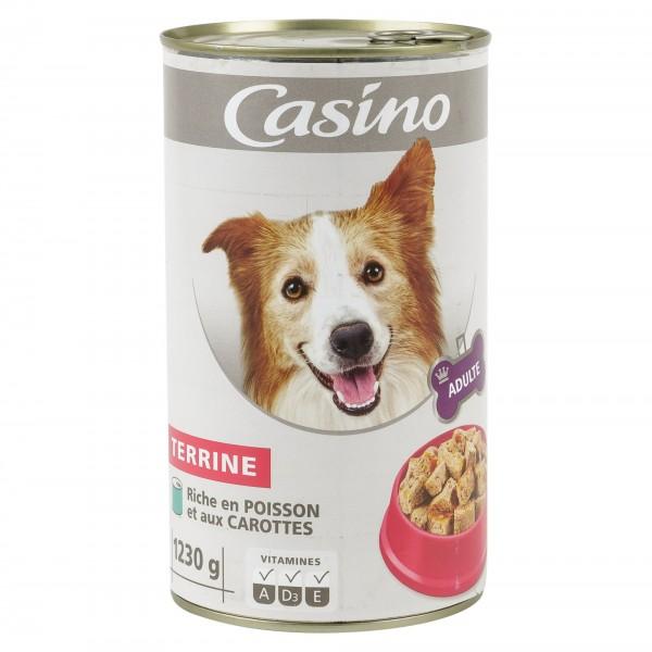 Casino Adulte Chien Terrine Riche En Poisson Et Aux Carottes 1230G 495278-V001 by Casino