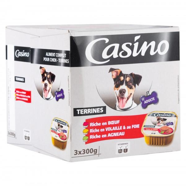 Casino Adulte Chien Terrines Riche En Boeuf, Volaille & Au Foie, En Agneau 3X300G 495304-V001 by Casino