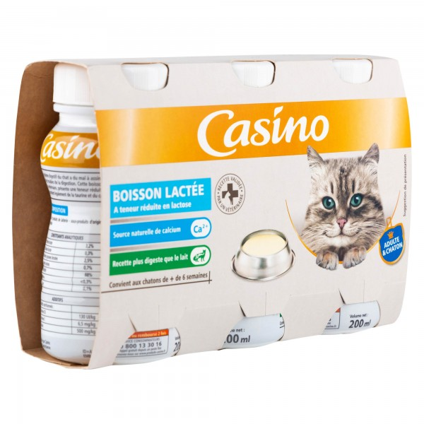 Casino Adulte & Chaton Boisson Lactee 3x200ml 495533-V001 by Casino