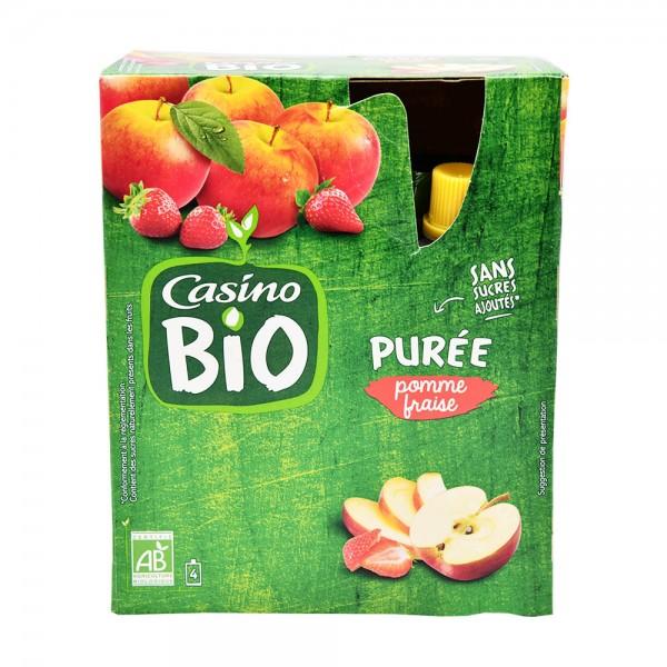 Casino Bio Pur饠De Pomme Fraise Sans Sucre 4x90G 496149-V001 by Casino