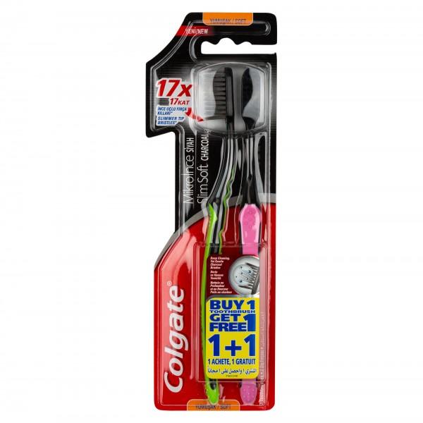Colgate Slim Soft Black Charcoal Toothbrush, Value Pack 2pk 504157-V001 by Colgate