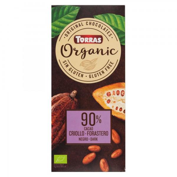 Torras Organic Dark Chocolate 90% Cacao Bar 100G 505115-V001 by Torras