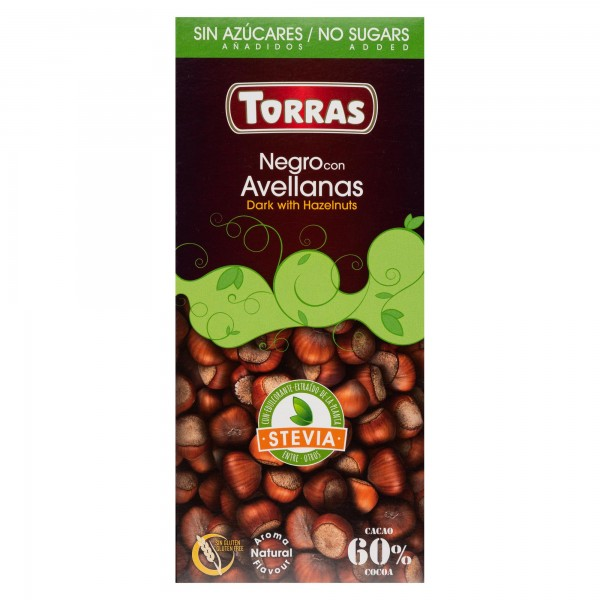 Torras Stevia Sugar Free Dark Chocolate With Hazelnuts Bar 125G 505121-V001 by Torras