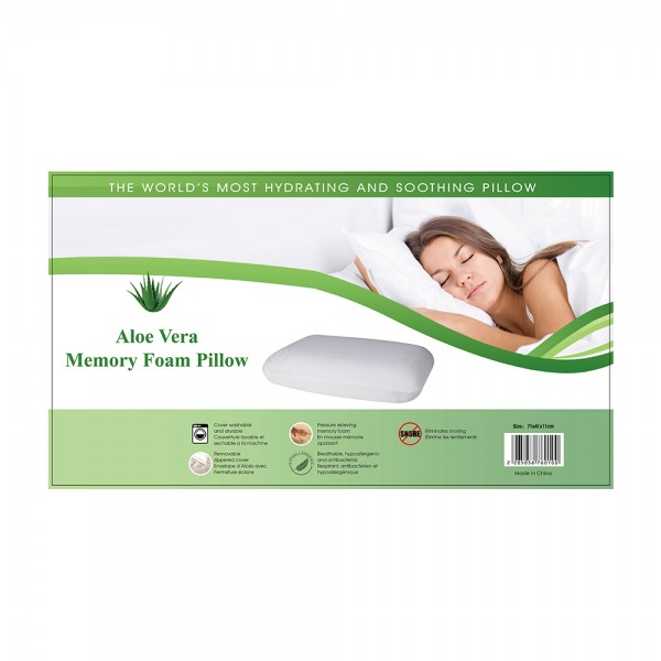 Aloe Vera Memory Foam Pillow, 71x41cm 505676-V001 by Home Collection