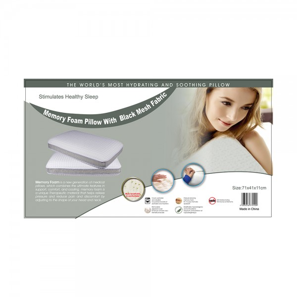 Memory Foam Pillow with Black Mesh Fabric, 71x41cm 505677-V001 by Home Collection