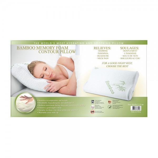 Bamboo Memory Foam Contour Pillow, 60x50cm 505678-V001 by Home Collection