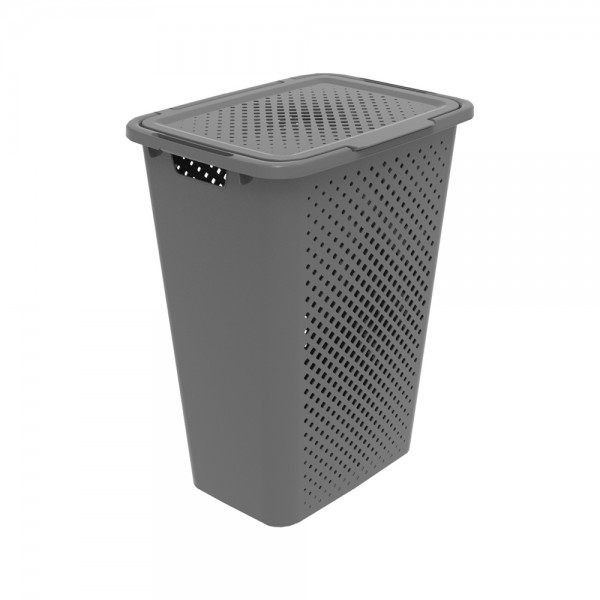 sundis Pixel Laundry Hamper With Lid Grey Color 50L 518281-V001 by Sundis