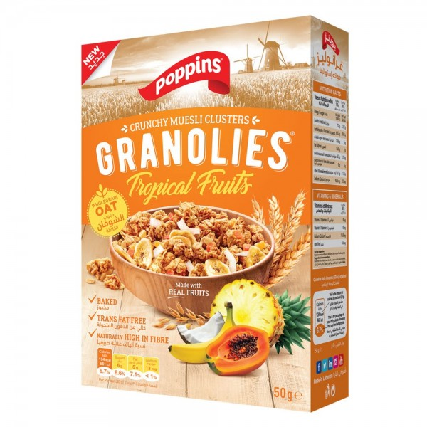 Poppins Granolies Tropical Fruits 50g 520219-V001 by Poppins