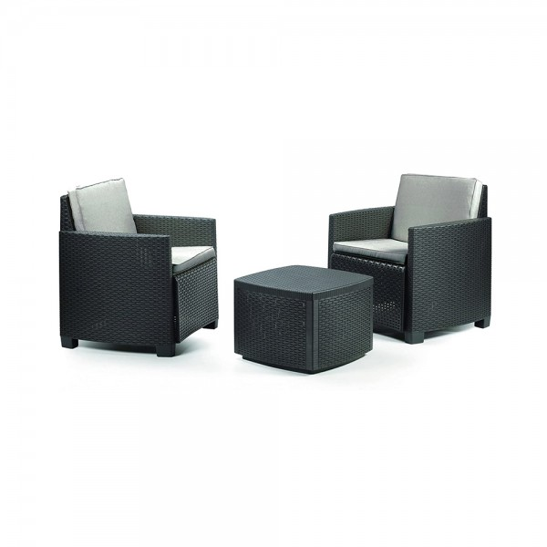 TRINACRIA SET RATTAN EFFECT ANTHRACITE W.CUSHION 520607-V001 by Pro Garden Collection