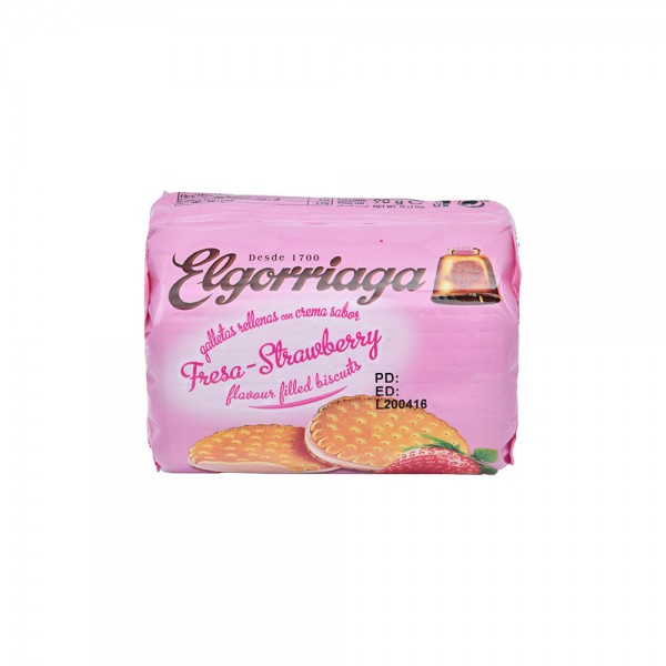 Elgorriaga Strawberry Flavour Filled Biscuit - 90G 520735-V001 by Elgorriaga