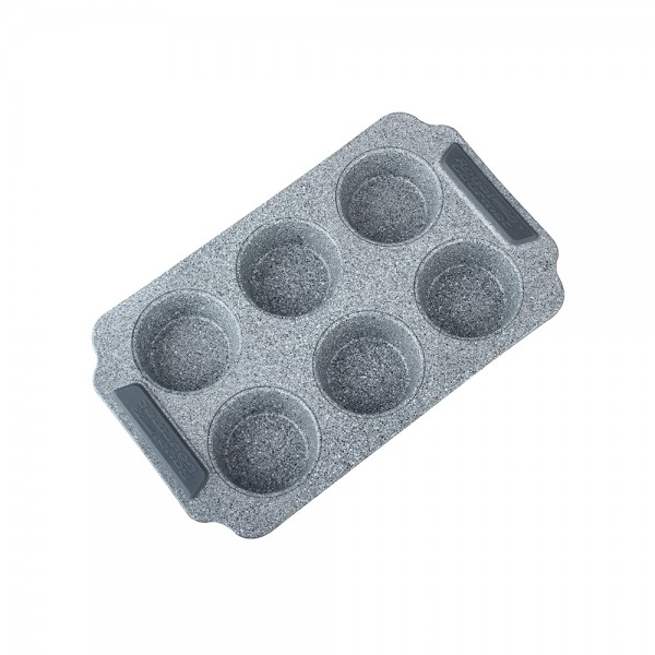 GRANIT MUFFIN PAN 6 CUPS WITH SILICONE HANDLE 521354-V001 by Royal Gourmet Corporation
