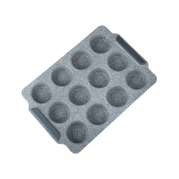 GRANIT MUFFIN PAN 12 CUPS WITH SILICONE HANDLE 521355-V001 by Royal Gourmet Corporation