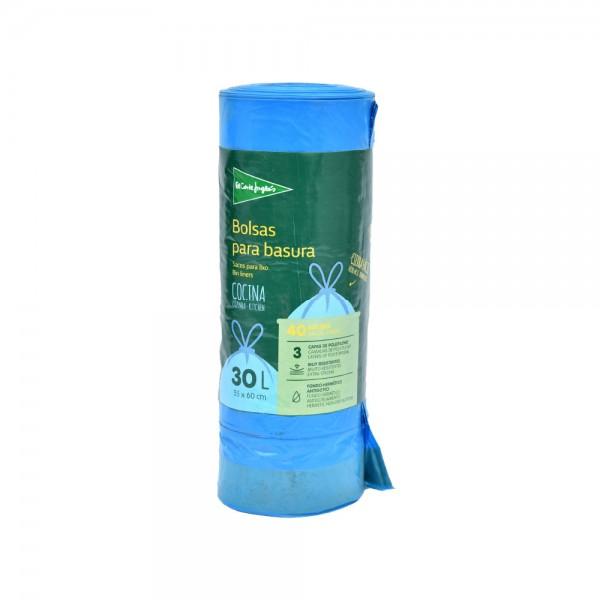 El Corte Self Sealing Bin Liners Blue 55X60 30 Litre Roll 522823-V001 by El Corte