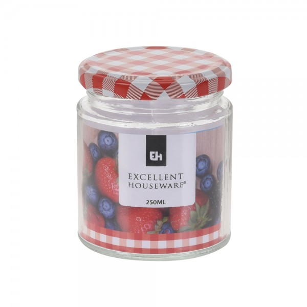 Eh  Glass Jar With Metal Red Lid - 250Ml 523082-V001 by EH Excellent Houseware