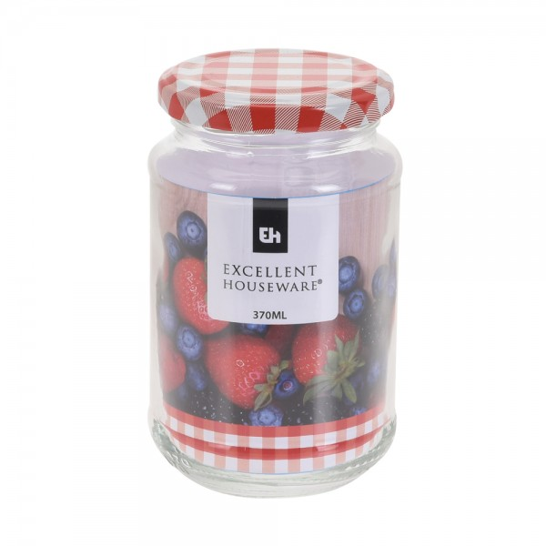 Eh  Glass Jar With Metal Red Lid - 370Ml 523084-V001 by EH Excellent Houseware