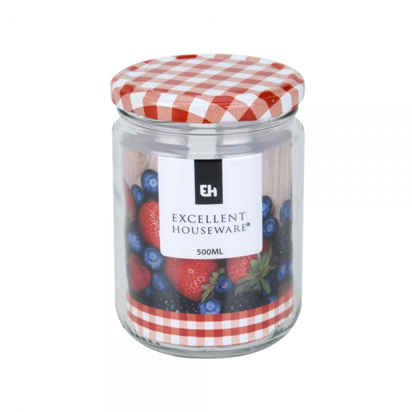 Eh  Glass Jar With Metal Red Lid - 500Ml 523085-V001 by EH Excellent Houseware