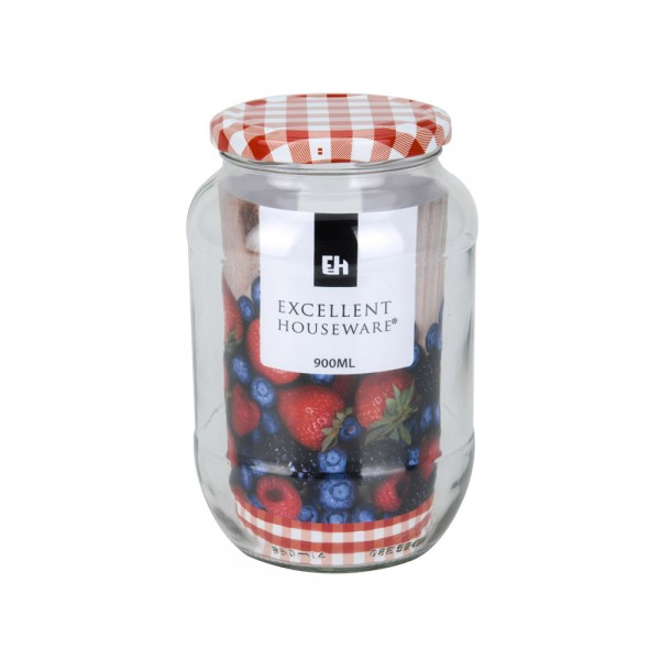 Eh  Glass Jar With Metal Red Lid - 900Ml 523086-V001 by EH Excellent Houseware