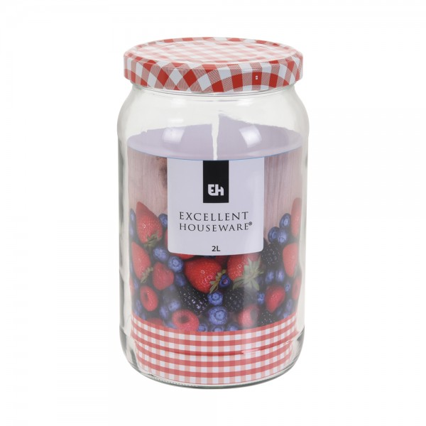 Eh  Glass Jar With Metal Red Lid - 2L 523087-V001 by EH Excellent Houseware