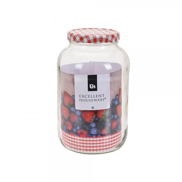 GLASS JAR WITH METAL RED LID 523088-V001 by EH Excellent Houseware
