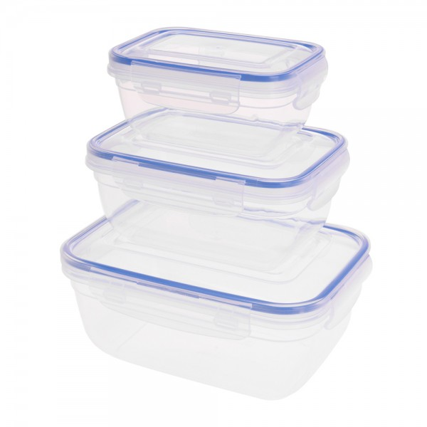 Eh  Plastic Lock Storage Container Set 1400/800/400Ml - 3Pc 524037-V001 by EH Excellent Houseware