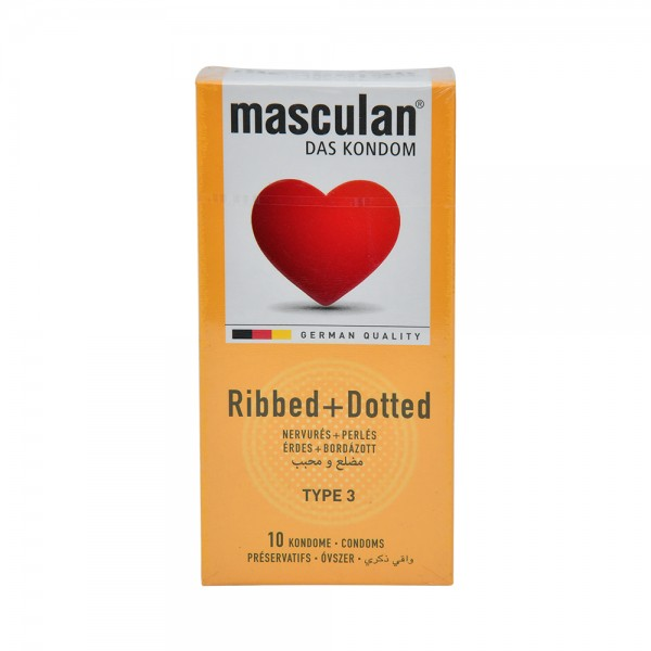 Masculan Condom Ribbed+Dotted - 10Pc 526037-V001 by Masculan