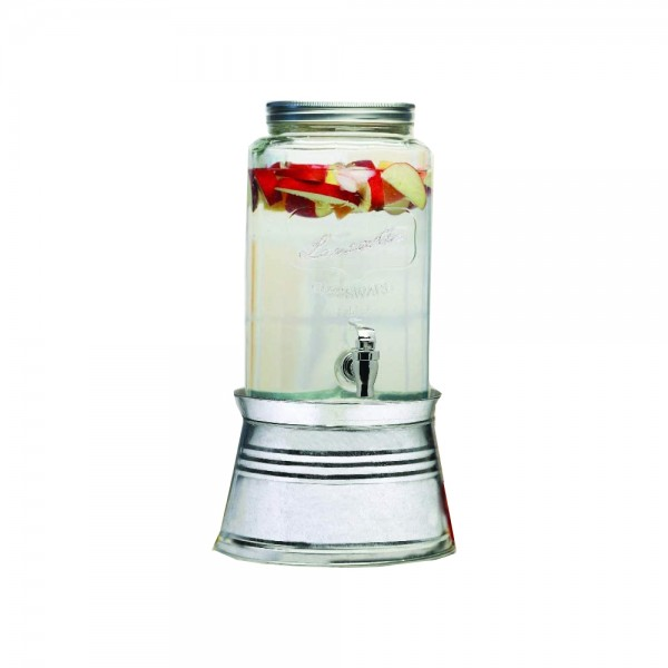 Circleware Glass Jar Dispenser+Tap With Tin Stand - 1.5L 526273-V001 by Lancaster Circleware