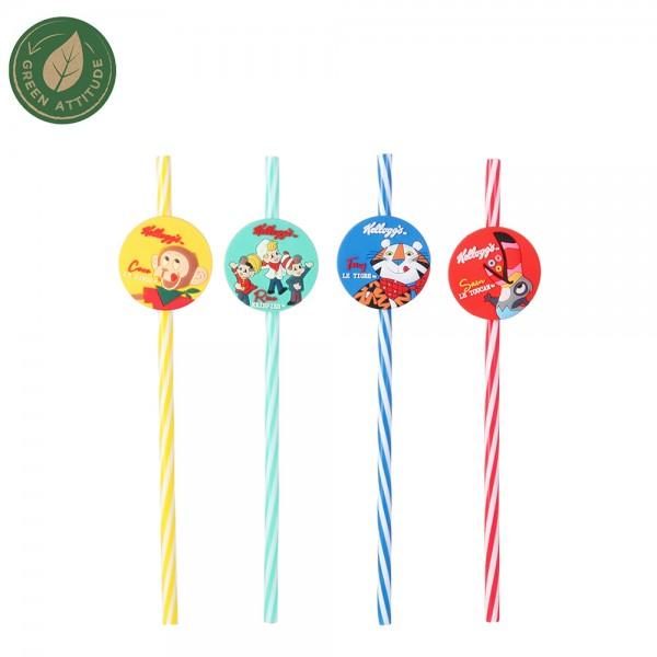 Kelloggs Reusable Straw Mixed Color - 4Pc 526380-V001 by Kellogg's