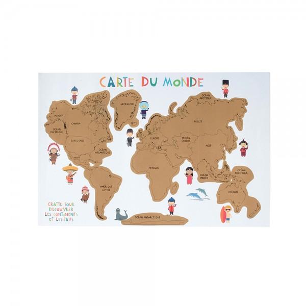 World Map Scratch Poster 526460-V001 by 2 Jeux Momes