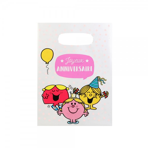 Mons.Madam Birthday Party Treat Bag Pink Blue - 10Pc 526525-V001 by Monsieur Madame