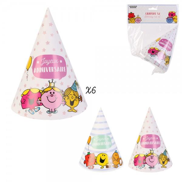 Mons.Madam Birthday Hats Pink Blue - 6Pc 526528-V001 by Monsieur Madame