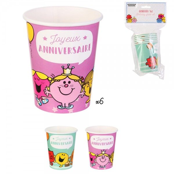 Mons.Madam Birthday Paper Cups Pink Green - 6Pc 526529-V001 by Monsieur Madame