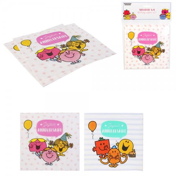 Mons.Madam Paper Napkins Pink Blue - 20Pc 526530-V001 by Monsieur Madame