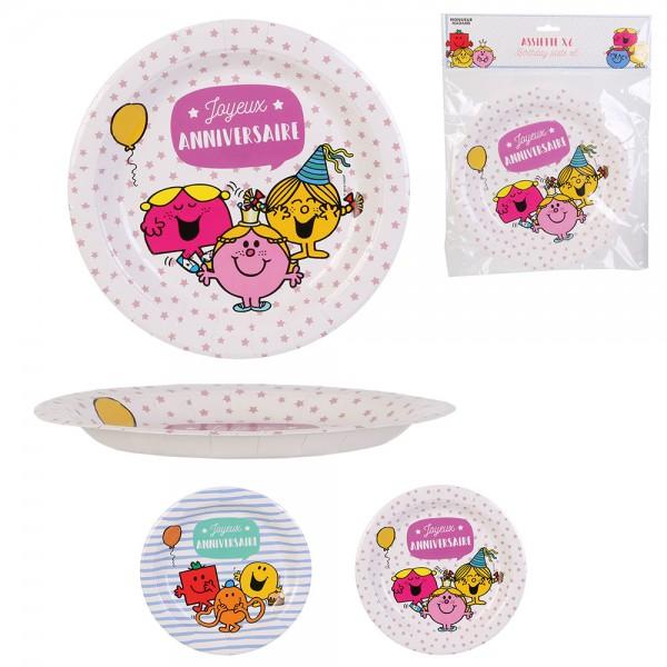 Mons.Madam Birthday Paper Plates Pink Blue - 6Pc 526531-V001 by Monsieur Madame