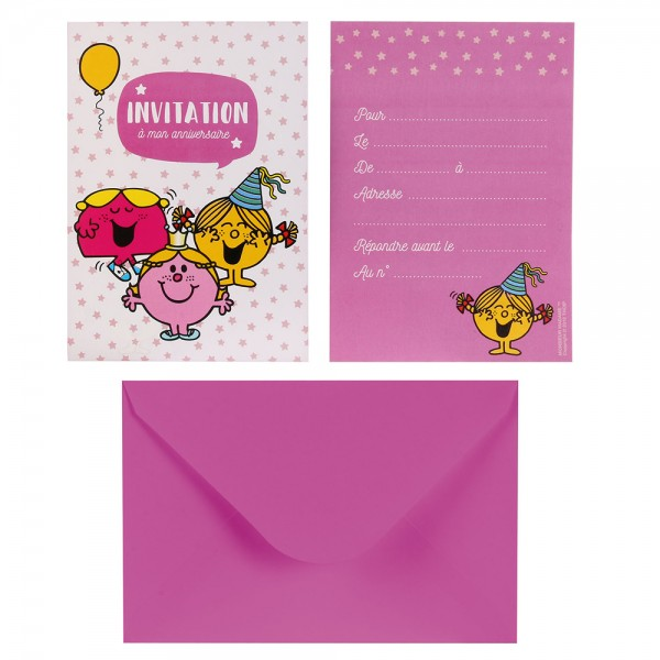 Mons.Madam Birthday Invitations With Envelopes Pink Green - 6Pc 526535-V001 by Monsieur Madame