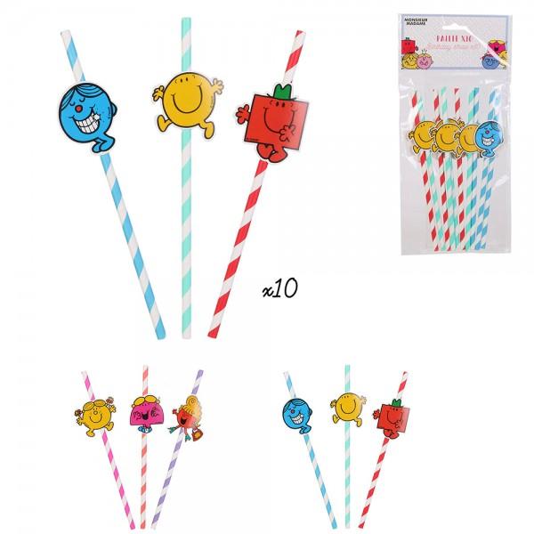 Mons.Madam Birthday Straws Mixed Color - 10Pc 526536-V001 by Monsieur Madame