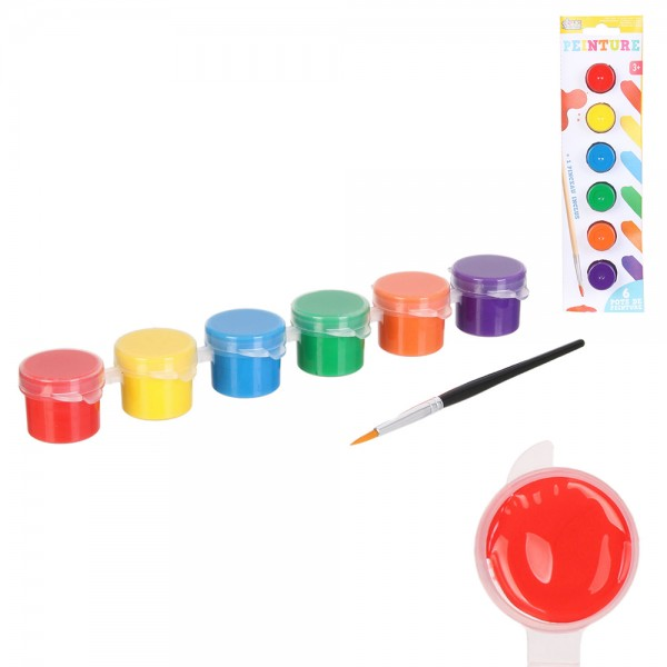 Jeux2Momes Paint Pots Mixed Color And 1 Brush - 7Pc 526547-V001 by 2 Jeux Momes