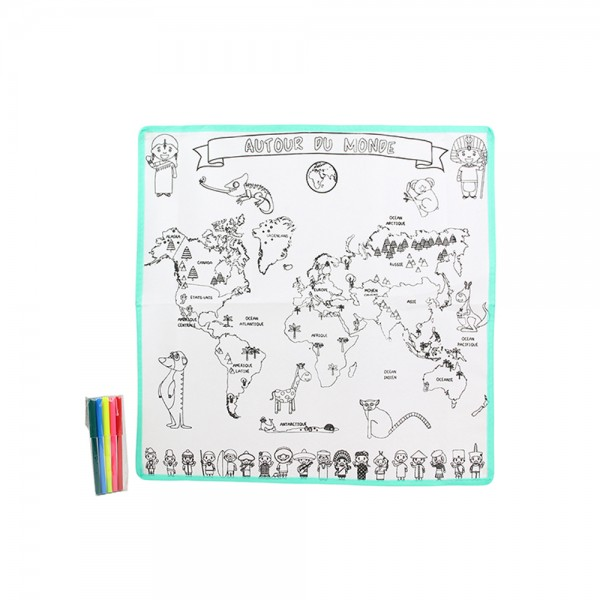 Jeux2Momes Map Of The World Colouring Mat 5 Markers - 6PcJeux2Momes Map Of The World Colouring Mat 526558-V001 by 2 Jeux Momes