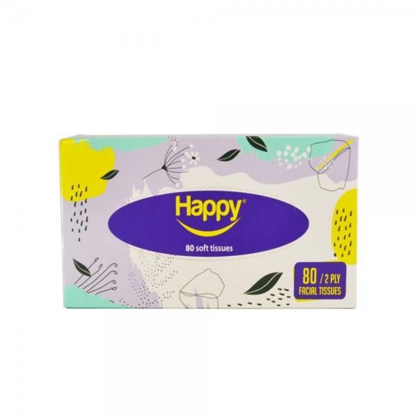 Happy Facial Tissue Box 2 Ply 80pc 526588-V001 by Happy
