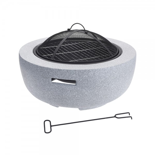 FIRE BOWL MGO GREY W. BBQ RACK 526721-V001 by EH Excellent Houseware