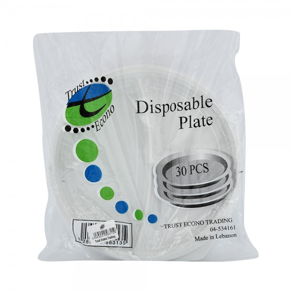 """Trust Econ Disposable Plate 9"""" - 30Pc 526940-V001 by Trust Econo"""