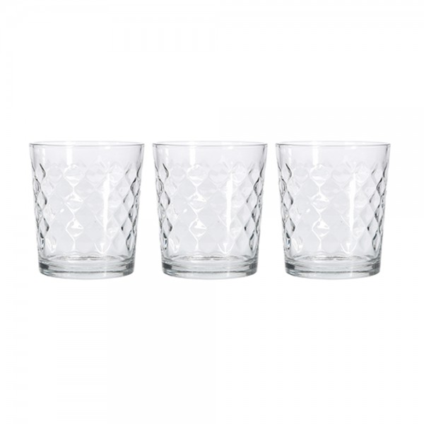 Eh Glass Cup Set Mixed Design - 3Pc 527060-V001 by EH Excellent Houseware