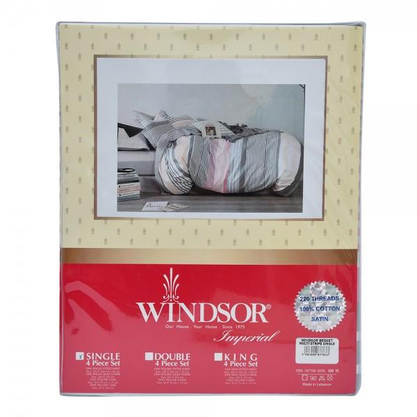 Windsor Bedset Satin Multistripe Single - 4Pc 527560-V001 by Windsor Imperial