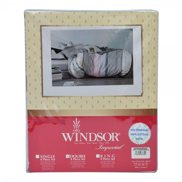 Windsor Bedset Satin Multistripe Double - 4Pc 527561-V001 by Windsor Imperial