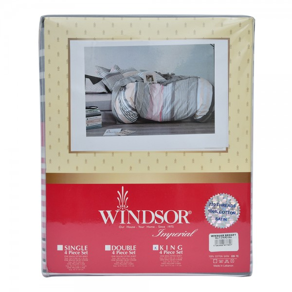 Windsor Bedset Satin Multistripe King - 4Pc 527562-V001 by Windsor Imperial