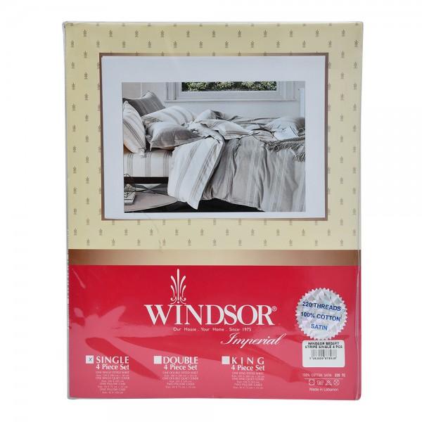 Windsor Bedset Satin Stripe Single - 4Pc 527619-V001 by Windsor Imperial