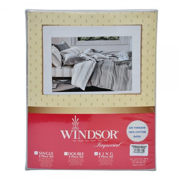 Windsor Bedset Satin Stripe King - 4Pc 527621-V001 by Windsor Imperial