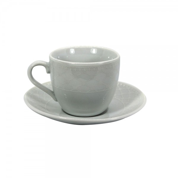 Luciano Porcelain Coffee Set White Embossed B 528747-V001 by Luciano Glass