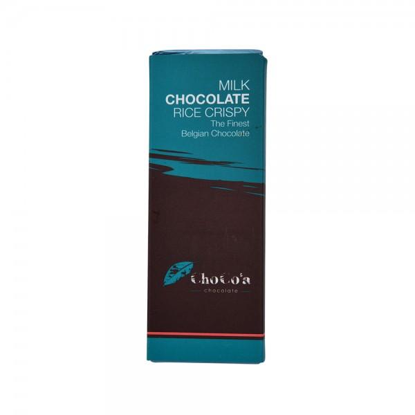 Chocoa Rice Crispy Milk Choc Bar - 25G 529360-V001 by Choco'a Chocolate